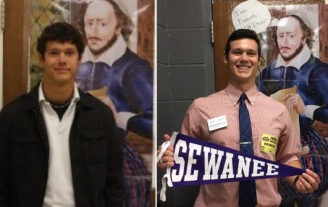 RYAN POOLE RETURNS TO CENTRAL -- (Left to right) Poole (2012) was copy editor of the Central Digest; Poole (2017) returned as an admissions representative of Sewanne University.