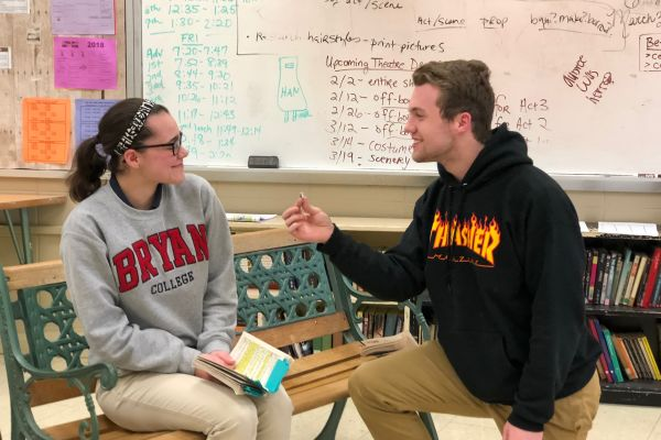 THE PROPOSAL--(left to right) Haylee Smith and Mitchell O'Neil are acting out the proposal scene.