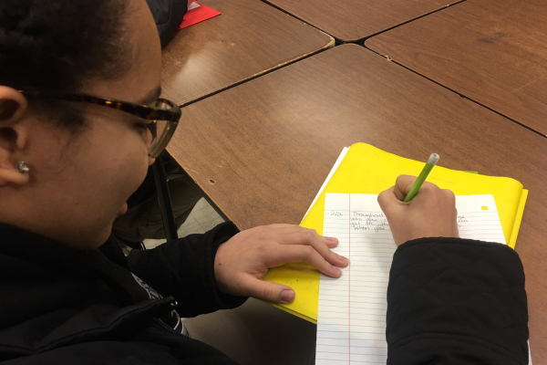 CENTRAL JUNIORS TO PARTICIPATE IN ENGLISH FIELD TESTING EXAMS -- Jazmyn Ball is  working hard to end the second semester with exceptional grades.