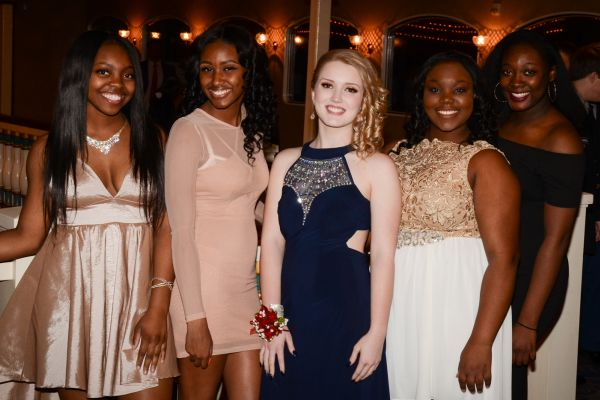 JROTC CADETS DANCE THE NIGHT AWAY AT MILITARY BALL -- The military ball queen candidates pose for a picture before the crowning ceremony.