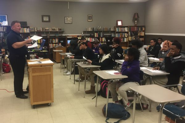 TEACHER SPOTLIGHT: ENGLISH TEACHER RYAN MALLORY BELIEVES TEACHING AT CENTRAL HAS BEEN 'TOP-NOTCH'-- Mr. Mallory preparing his 11th grade class for the upcoming ACT test.