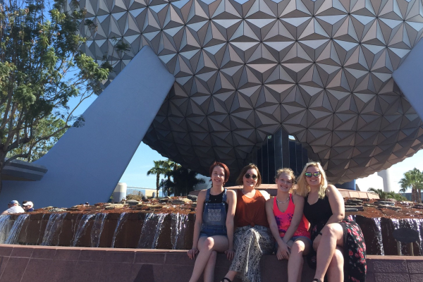 BAND MEMBERS HAVE A FANTASMIC TIME AT DISNEY WORLD -- Georgia Teems, Jada Lowry, Summer Hansard, Lacy Mckinney pose in  the Epcot Theme Park.