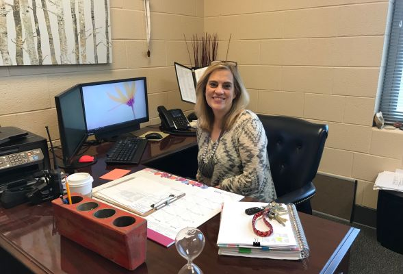 ALUMNI STORY: SHELLEY PRITCHARD CONTINUES TO LEAVE A POSITIVE IMPACT ON STUDENTS--Shelley Pritchard sits in her office, ready to help students accomplish their dreams.