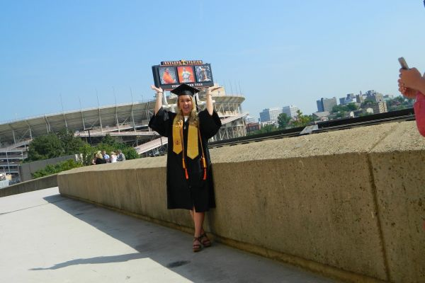 SARA WALKER CONTINUES TO SUCCEED AFTER GRADUATING FROM CENTRAL HIGH SCHOOL --  Sara Walker shows her excitement after graduating from the University of Tennessee.