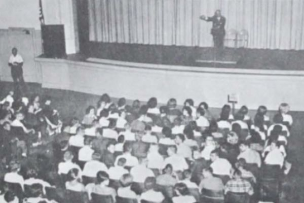 REGISTRATION DAY 1963 -- This was the scene at Central as Principal Hobart Millsaps welcomed students, new and old.