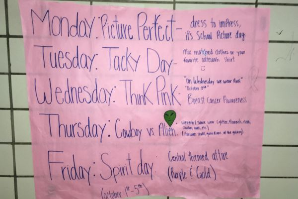 SPIRIT WEEK AT CENTRAL -- Students may choose to dress in the appropriate attire during Spirit Week, October 1-5.