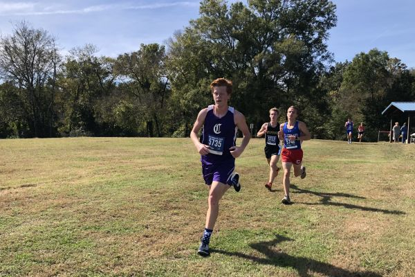 CROSS COUNTRY SEASON COMES TO AN END -- Senior Nathen Vander Wilt competing in region meet.