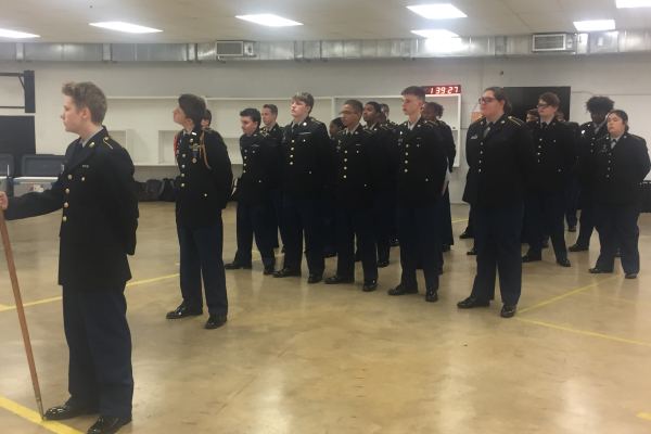 THE JROTC PROGRAM CELEBRATES A CENTURY AT CENTRAL HIGH --Students in formation during JROTC.
