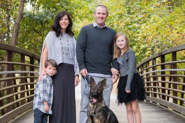 CENTRAL ALUMNUS ERIN LUCAS RUMINATES ON HER TIME AT CENTRAL -- Alumnus Erin Lucas (mid left) and her husband, Mike Lucas, (mid right) devote time with their children Mia (far right) and Evan (far left).