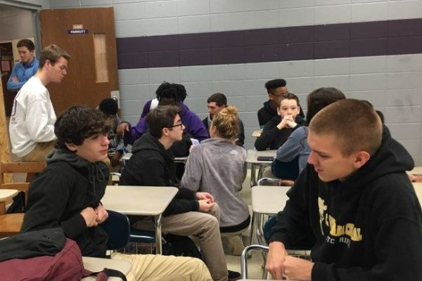 THE NATIONAL HONOR SOCIETY'S MENTORSHIP PROGRAM ASPIRES TO HELP FRESHMAN ADJUST TO HIGH SCHOOL — During the students' advisory classes, the seniors assist the freshman with whatever problems or concerns they may have about their school work and activities.