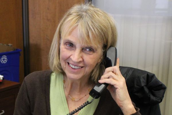 OVERLOOKED STAFF ARE THE MOST IMPORTANT  -- School Secretary, Mrs. Terry Rogers, as one of Central's most dedicated staff members, answers the phone.