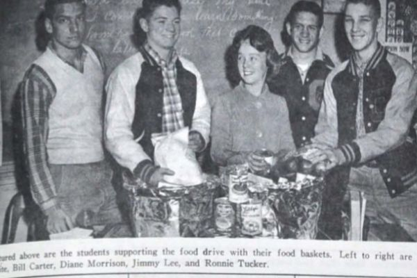 THE GIVING SPIRIT OF CENTRAL -- (Left to right) George White, Bill Carter, Diane Morrison, Jimmy Lee, and Ronnie Tucker are students supporting the food drive with their food baskets.