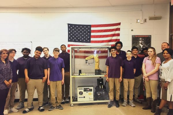 CENTRAL WELCOMES FUTURE READY ADVANCED MECHATRONICS AND ENGINEERING DESIGN COURSES -- Jonathan King's class showcases one of their robot creations in light of the new advanced mechatronics and engineering design courses that will soon be available to students.
