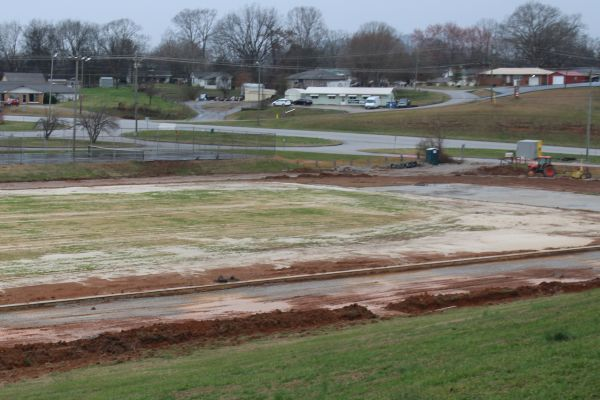 CENTRAL HIGH SCHOOL TRACK-- The new track as it is being constructed in February