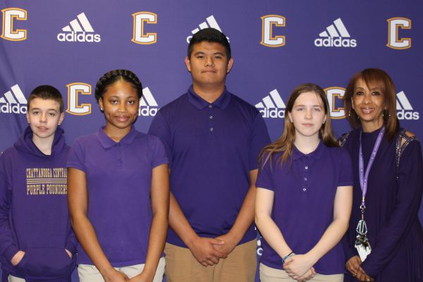 2019 CENTRAL STUDENTS OF THE WEEK -- Four freshmen, Matthew Merfert (left), Georkelia Bauls (middle left), Demetrio Dominguez (middle right), and Shelby Sartin (right), as well as Karen Atkins (far right) pose as they are honored for being apart of the student of the week program.