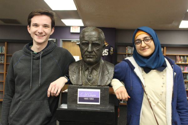 FORE ANNOUNCED AS VALEDICTORIAN; WHAYEB SALUTATORIAN OF THE CLASS OF 2019 -- Valedictorian Preston Fore and Salutatorian Zeena Whayeb pose beside a monument dedicated to E. Y. Chapin, who presented an endowment to the school library, making the vast collection of books possible. The duo did a lot of studying and research in the library to achieve the highest ranks in their class.