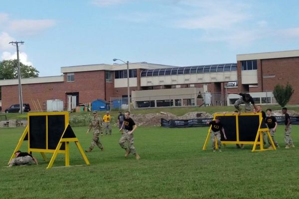 ROTC HOSTS FUNDRAISER TO SUPPORT THEIR NEW OBSTACLE COURSE -- The raiders group working hard to win their competition.
