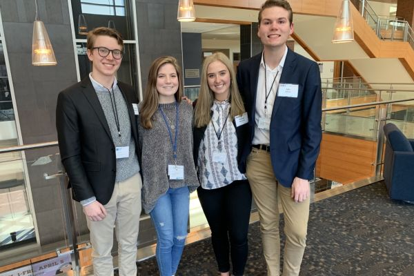 JAKE JOHNS AND MEGHAN DUNCAN REPRESENT CENTRAL HIGH SCHOOL AND HCDE AT 2019 SCOPE CONFERENCE -- (left to right): Soddy Daisy High School students Noah Harris and Cassidy Gibson, and Central High School students Meghan Duncan and Jake Johns represent Hamilton County Schools at SCOPE 2019.