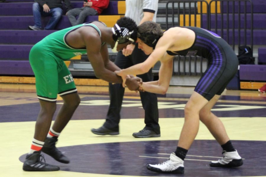 CENTRAL'S WRESTLING TEAM HOPES TO SEND MULTIPLE PLAYERS TO REGION TOURNAMENT -- The wrestling team faces off against East Hamilton High School.