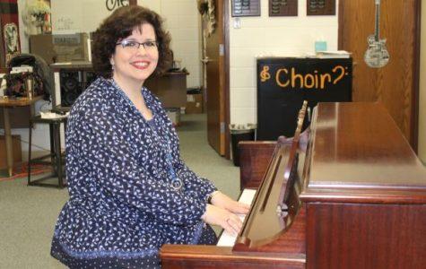 CHOIR DIRECTOR KATHERON LATHAM PLAYS NEW PIANO -- Katheron Latham shows off the new piano donated by Bayside Baptist Church.