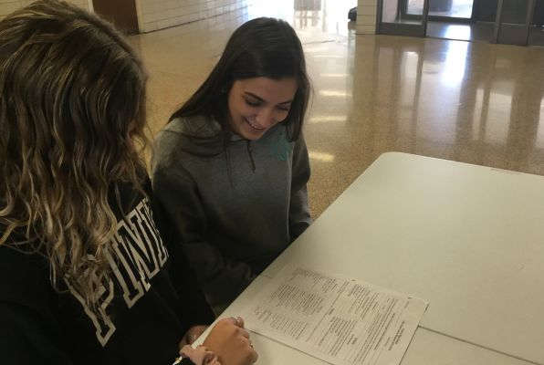 THE LONG PROCESS OF CLASS SCHEDULING BEGINS FOR THE 2019-2020 SCHOOL YEAR -- Juniors Kaitlin Sipe and Jayde Durham try to decide what classes to take for their senior year.