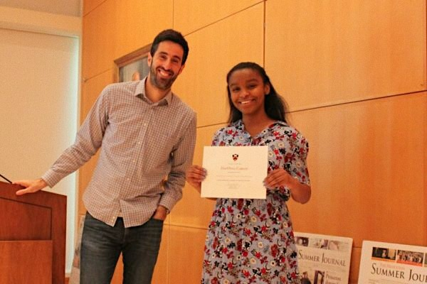 EDITOR-IN-CHIEF, DAYONNA CARSON, ATTENDS PRINCETON'S PRESTIGIOUS SUMMER JOURNALISM PROGRAM -- Carson poses with program founder, Richard Just, after receiving a completion diploma.