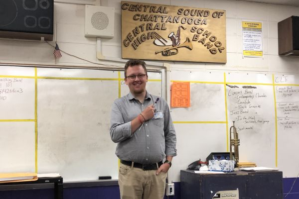 TEACHER SPOTLIGHT: JOSEPH ARCHER IS MARCHING IN AS CENTRAL'S NEW BAND DIRECTOR - -  Mr. Archer prepares himself to start his day with the concert band.
