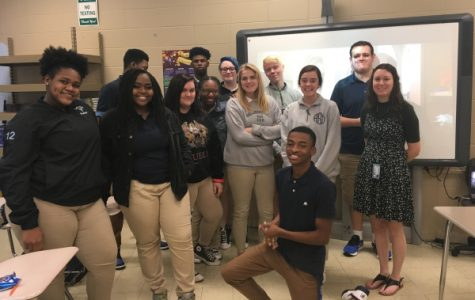 THEATER II AND ENGLISH TEACHER KELSAY CATE RECEIVES NEW TEACHER AND DONORSCHOOSE GRANTS -- Kelsay Cate and her Theatre II class enjoy each other's company while deciding what play they want to pursue.