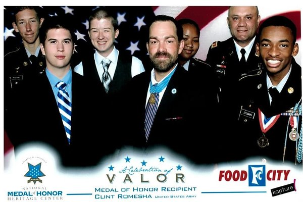 JROTC STUDENTS ATTEND CELEBRATION OF VALOR LUNCHEON WHERE MEDAL OF HONOR RECIPIENT SHARES HIS STORY -- Central JROTC students are pictured with Medal of Honor recipient, Clint Romesha. (Left to right: Tyler Mullins, Zach Defur, Hyatt Green, Clint Romesha, Airicka Richardson, Major David Spencer, Jacob Sylman)