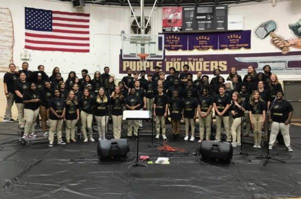 TEACHERS FOCUS ON COMMUNICATION AS OPEN HOUSE DOUBLES AS SENIOR NIGHT - - The Central Voices prepare to sing in front of parents, students, and staff before Open House begins.