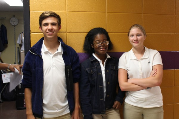 SOPHOMORE CLASS OFFICERS HOPE TO INSTILL MOTIVATION IN THEIR PEERS — The sophomore class officers, pictured from left to right, are President Jack Graham, Vice President Jessica Foster, and Secretary Sydney Stone, and they have big plans for the 2019-2020 school year.