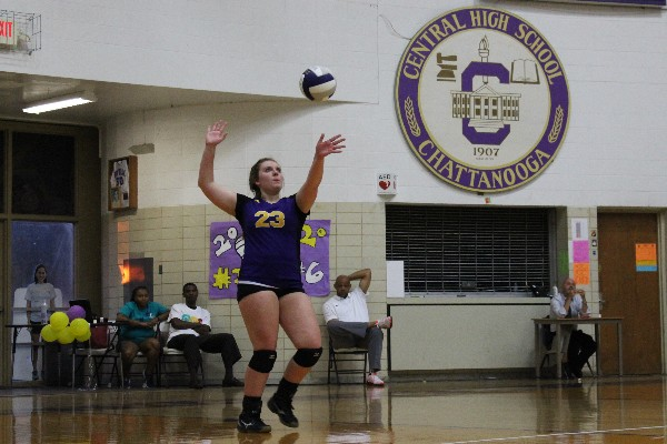 CENTRAL'S VOLLEYBALL SEASON COMES TO AN END -- Junior Carmen Crabtree is serving during a Central volleyball game.
