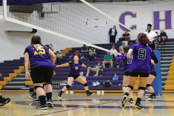 CENTRAL'S VOLLEYBALL SEASON COMES TO AN END -- Central gets ready to spike the ball to opposing side.