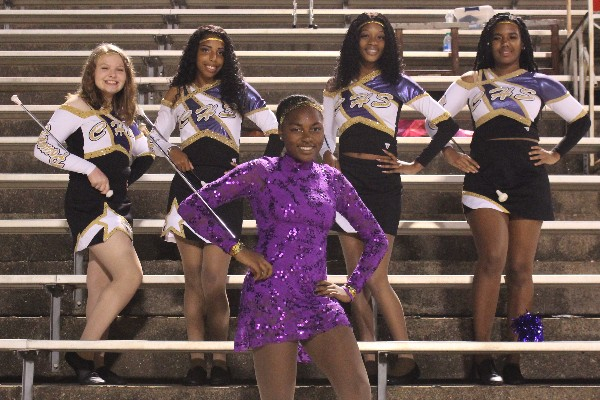 CENTRAL'S RAPIDLY GROWING MAJORETTE TEAM SHOWS THEIR AMBITION --  Corielle Wimberly leads the Majorettes in the football game against Hixson.