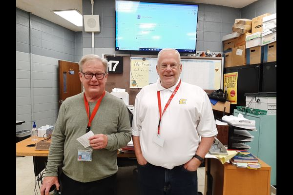 GEOMETRY TEACHERS WANTED — Mark Cuttle and James Snyder are excited to see what adventures their new classes bring.