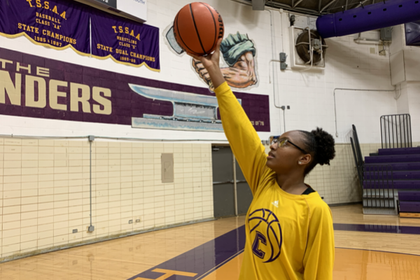 LADY POUNDERS BASKETBALL TEAM HOPES TO RAISE THEIR RECORD IN THE 2019-2020 SEASON -- Sophomore Alona Allen goes up for a basket during their practice.