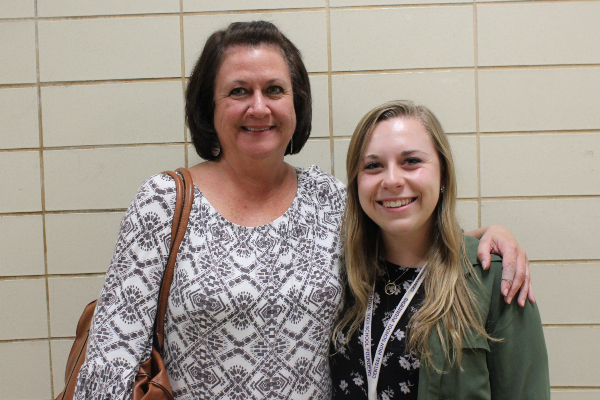 RAWSON AND MAJORAS ASSIST TRANSITIONING GEOMETRY STUDENTS -- Elizabeth Rawson and Kathleen Majoras enjoy each other's company, collaborating to help their students.