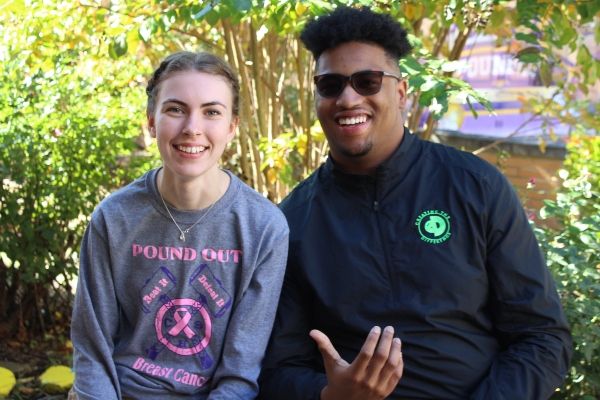 CENTRAL'S 2019 BOWLING TEAM IS SMALL BUT STRONG -- Anna Markstrom and CJ WIlliams genuinely enjoy their time on Central's bowling team.