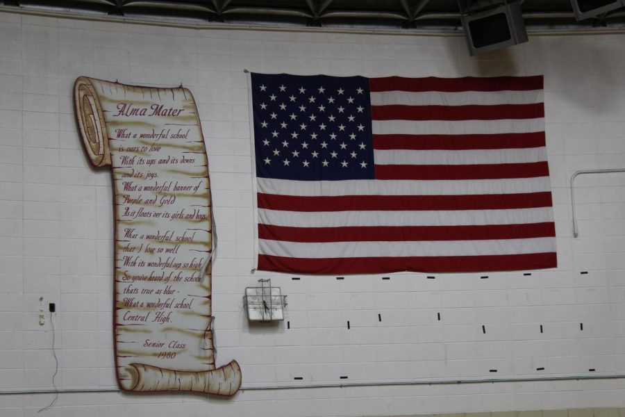 ALMA WHAT? WHY LESS STUDENTS ARE LEARNING THE ALMA MATER -- The lyrics to the Central High School Alma Mater hang next to the American flag in the gym.