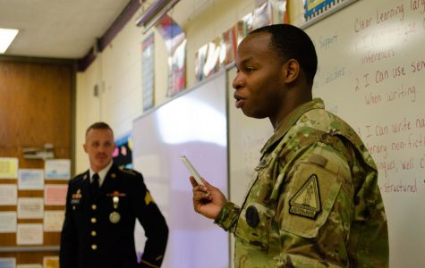 2019 CAREER EVENT GIVES STUDENTS A VALUABLE INSIGHT INTO THE WORKFORCE — Donovon Armour is with Thomas Fairfield explaining what his job is like at the National Guard to Central Students.