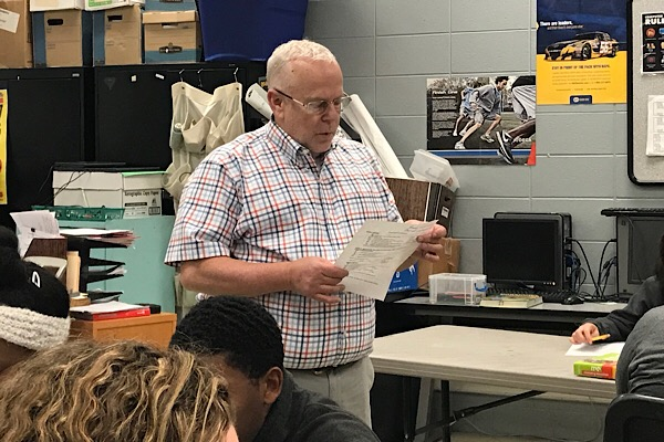 MARK CUTTLE JOINS CENTRAL STAFF AS THE NEW BUSINESS TEACHER --  Mr. Cuttle is going over a test review with his students.