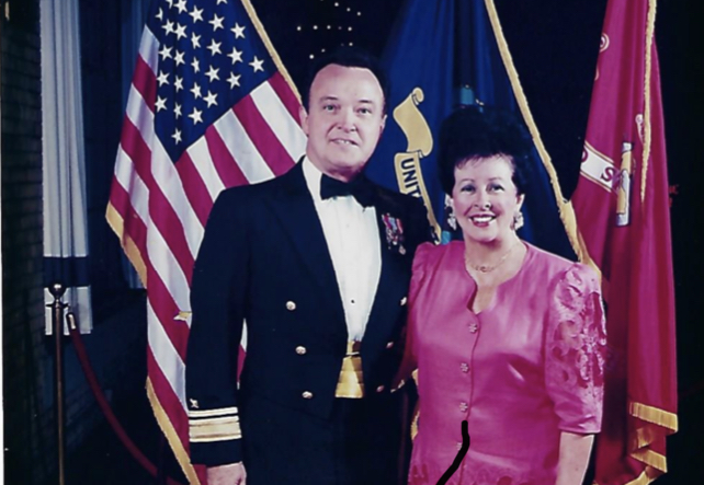 VANCE AND CHARLYNNE FRY ('54) LEAVE A LASTING LEGACY OF SERVICE AT CENTRAL HIGH SCHOOL -- Admiral Fry stands with his wife, Charlynne.