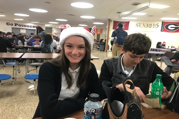 THE HOLIDAYS COME TO CENTRAL HIGH-- Sophomore Carys Oppedisano shows off her holiday hat.