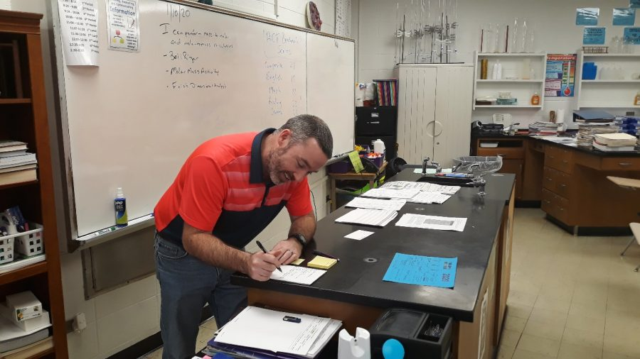 TREVOR BRITTINGHAM TAKES POSITION AS CHEMISTRY TEACHER — Trevor Brittingham is hard at work ensuring that students get back on track with their chemistry standards.