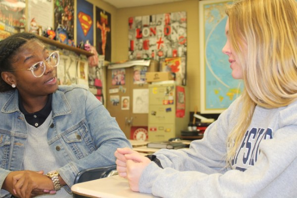 UTC HOSTS DEBATE COMPETITION FOR HAMILTON COUNTY SCHOOLS -- Senior Trinity Bennett and Junior Taylor Hearrell practice their debate skills in the classroom.