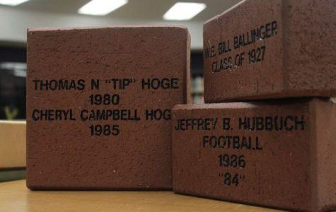 CENTRAL ALUMNI ASSOCIATION RAISES MONEY WITH BRICK SALE -- The first bricks that have been ordered sit in the Central High School library.