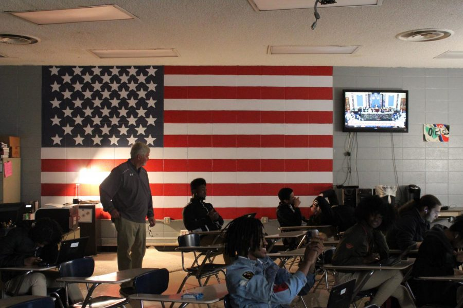 STUDENTS IN TENNESSEE NOW REQUIRED TO PASS CIVICS TEST TO GRADUATE -- Pictured above is a mural of the United States flag in Mr. Massengales room, one of the government classes at Central.