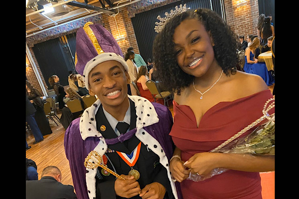 SENIORS JACOB SYLMAN AND JAHNIA RUSSELL NAMED KING AND QUEEN OF 2020 MILITARY BALL -- Military ball king and queen pose moments after their crowning.