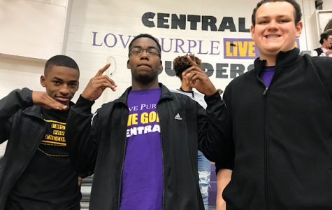 SENIORS ARE REWARDED FOR HIGH ACT SCORES WITH 21 CLUB — From left to right: Seniors Jacob Sylman, Jordan Hudson, and James Ortiz show off their Pounder Pride at the pep rally.