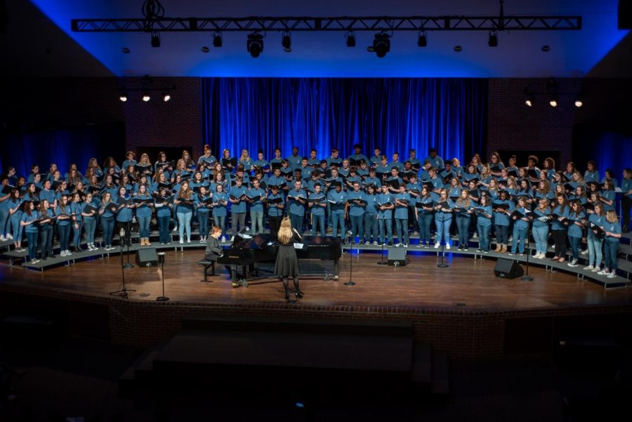 CENTRAL STUDENTS PERFORM IN THE LEE UNIVERSITY HONOR CHOIR -- The Lee Honor Choir performs in the Conn Center at Lee University.